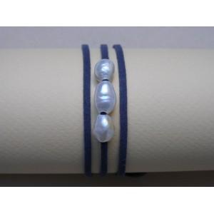 Bracelet 3 perles de culture lien bleu grisé