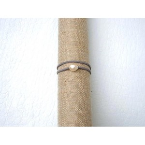 bracelet 1 perle de culture lien gris