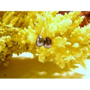 Boucles d'oreilles mimi, perles baroques grises