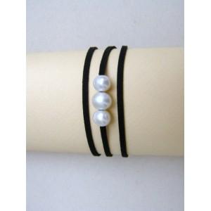 Bracelet 3 perles de culture lien noir