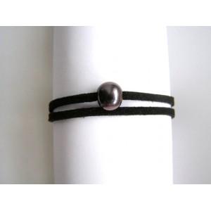 Bracelet 1 perle de culture noire bouton lien double noir