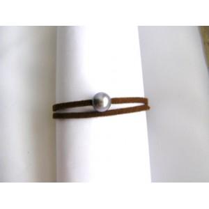 Bracelet chocolat perle de culture grise lien double