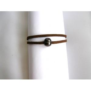Bracelet chocolat perle de culture noire