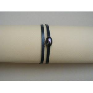 Bracelet I perle noire lien cuir gris