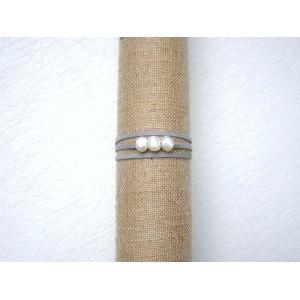 Bracelet 3 perles de culture lien gris